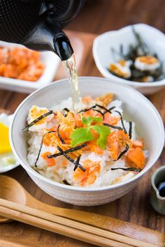 Craving for a dish that is light yet comforting? This easy, homemade Ochazuke (Japanese Tea Rice) with green tea, steamed rice, and simple savory ingredients will hit the right spot. #ochazuke #japanesefood | Easy Japanese Recipes at JustOneCookbook.com