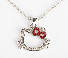 Hello Kitty Rhinestone Necklace: Red