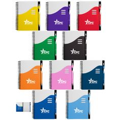 Combined Federal Campaign Color Wave Journal. Spiral bound, White PP cover with contrasting bold color large front pocket with die-cut detail, Matching color ballpoint pen included (without imprint), 70 Lined pages.