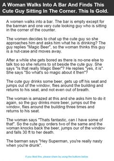 A Woman Walks Into A Bar And Finds This Cute Guy Sitting In The Corner. This Is Gold. | Alltopics