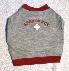 Dog Shirt Size S Pet Puppy Pup Clothes Attire Grey With Maroon Trim Sports Nut #SimplyDog
