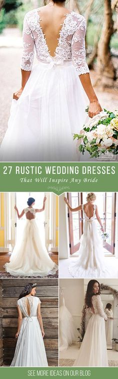 Bridal Inspiration: Rustic Wedding Dresses❤ Rustic wedding associated with warm, kindness and ease. This style requires special dress. It is better if rustic wedding dresses will be sheath or mermaid. See more http://www.weddingforward.com/rustic-wedding-dresses/ ‎#rustic #wedding