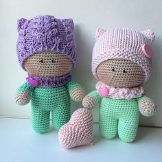Photo from flamin_goo Small Crochet Gifts, Cute Crochet, Crochet For Kids, Crochet Baby, Knit Crochet, Amigurumi Animals, Knitted Animals, Amigurumi Doll, Knitted Dolls