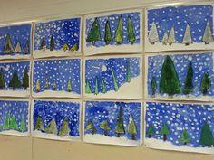 2.luokan talvimaisema.  A3-paperi maalarinteipillä alustaan. Suttupaperista leikataan kolmioita, jotka sinitarralla kiinni A 3 - paperille. Hahmottele hanki lyijykynällä. Töpötellään sinistä+valkoista pulloväriä tausta täyteen (ei hangelle). Poista kuusikolmiot.  Vesi/peiteväristä sekoitellaan mieluinen vihreä sävy, jolla kuuset maalataan.  Hanki töpötellään valkoisella pullovärillä.  Mustalla vahavärillä vahvistetaan kuusten reunat. Lopuksi vielä pullovärillä sormipainannalla lumihiutaleet.