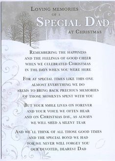 missing you at christmas poems | Loving Memories of a special Dad at Christmas Time