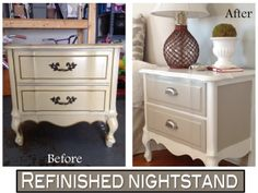 Refinished nightstand in DIY Chalk Paint (Before and After photos)  I have these exact nightstands and a dresser.  They have met their match