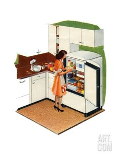 Housewife Opening Refrigerator in Kitchen of 1940s Home Giclee Print at Art.com
