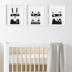 This superhero Baxter the Bunny print is sure to be a cool addition to any kids room or baby nursery. A monochrome print blends in nicely with
