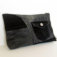 Recycelt alte Jeans Patchwork Clutch Bag / von Kazuenxx auf Etsy