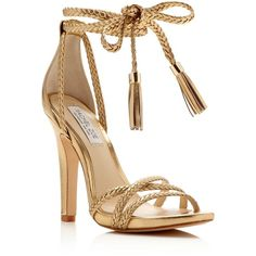 Rachel Zoe Odette Metallic Ankle Tie High Heel Sandals ($320) ❤ liked on Polyvore featuring shoes, sandals, gold, leather heeled sandals, braided sandals, ankle wrap sandals, leather shoes and metallic sandals