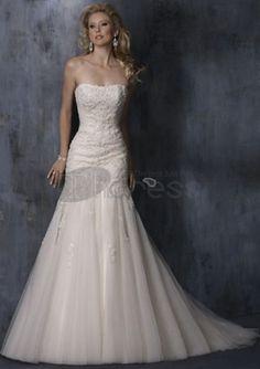 Abiti da Sposa Senza Spalline-Sirena treno raso pizzo abiti da sposa senza spalline
