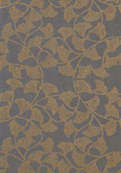 Thibaut- Artisan- Ginkgo Slate Blue shop.wallpaperconnection.com