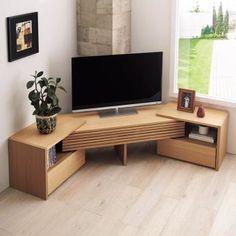 ワンランク上の天然木格子伸長式テレビボード。レイアウトも自由自在。横幅の伸縮はもちろん、コーナーや梁を避けるなど、お部屋にぴったりと設置できます。