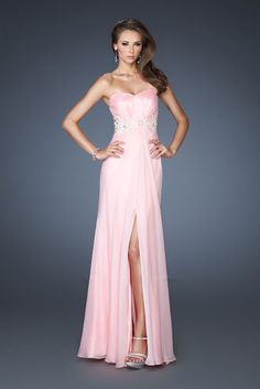 A-line Chiffon Sweetheart Natural Waist Floor-Length Backless Sleeveless Appliques Beading Split Prom Dress picture 1