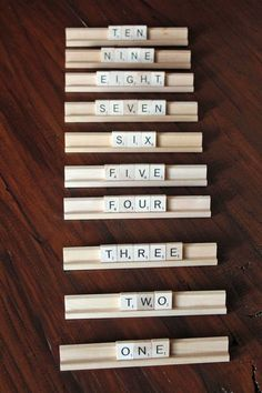 Scrabble Wedding Table Numbers, I'll do this for my mom one day.