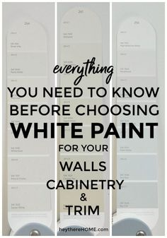Easy guide to choosing the right white paint; how to pick undertones that aren't too pink, yellow, or purple.  #paintingtips #color #whitewalls #moderndecor #paint #renovation #homedecor #homedecorating #undertones #choosepaint #interiorpaint #whitecabinets #whitetrim