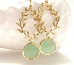 Mint Green Earrings Gold Leaf Earrings Laurel Wreath Greek Jewelry Grecian Wedding Mint Wedding Bohemian Boho Mint Bridesmaid Jewelry Gift (38.00 USD) by LoveShineBridal