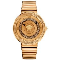Versace Rose Gold Icon Rose Gold-Tone Watch (7.895 RON) ❤ liked on Polyvore featuring jewelry, watches, rose gold, versace jewelry, bezel jewelry, rose gold jewelry, rose gold watches and rose gold wrist watch