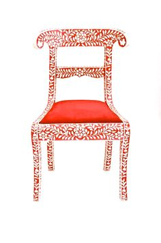 This is a stunning red bone inlay chair with velvet seat. Picture this beauty in…