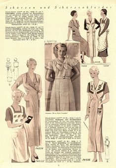 "Illustrierte Wäsche- und Handarbeits-Zeitung 1935 heft 4. Model 14505: B40"" (102 cm). Model 14506: B47"" (120 cm). Model 14507: B38"" (96 cm). Model 14508: B38"" (96 cm). PDF sewing patterns for these models available upon request, please contact me for more information."