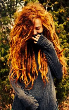 Love the curls at the bottom of these dreads -Soft tips, Half Dreads Girls with Dreadlocks