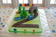 Carter's Train Cake Thomas The Train Birthday Party, Trains Birthday Party, Train Party, 2nd Birthday Parties, Birthday Ideas, Birthday Cakes, Thomas Cakes, Third Birthday, Birthday Week
