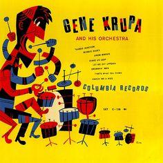 Gene Krupa and his Orchestra - Columbia (78 rpm album) 1940s  Design- Jim Flora