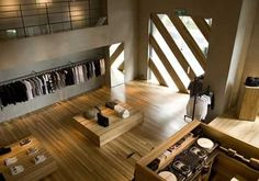Retail Plan: Showroom In Holz -You can find Retail and more on our website.Retail Plan: Showroom In Holz - Visual Merchandising, Plans Loft, Glam Look, Boutique Interior Design, Showroom Design, Design Interiors, Wooden Rack, Shops, Bistro