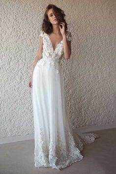 8496c84be010 Browse Our Large Selection of Wedding Dresses, Shop Ivory Cap Sleeve V Neck  Wedding Dresses