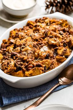 This Pumpkin Bread Pudding recipe is made with challah, pumpkin puree, cinnamon, and simple ingredients. The perfect easy dessert for fall. #pumpkin #breadpudding #pumpkinpudding #pumpkinrecipe #foolproofliving