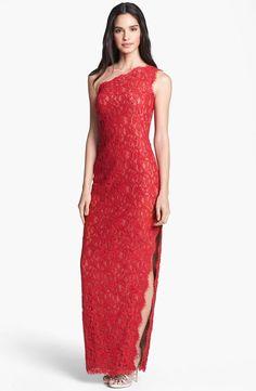 Tadashi Shoji One Shoulder Lace Gown