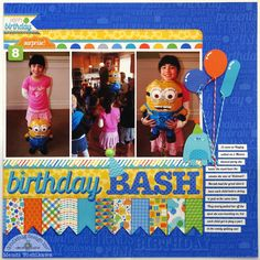 "A Doodlebug Hip Hip Hooray Layout by Mendi Yoshikawa - Scrapbook.com - Tie balloon shaped die cuts or stickers with bakers twine to make them look like real balloons. You can even put them in the hands of a ""creature"" too!"