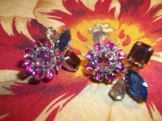 Rare Vintage Schreiner of New York Rhinestone Clip Earrings