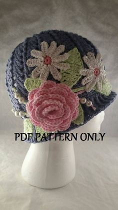 Cloche Panama Hat with Flower, Leaves and Beads - and Downton Abbey Inspired - - Pattern Only by ShannonsCrochetWeb on Etsy Crochet Flower Patterns, Crochet Flowers, Knitting Patterns, Sewing Patterns, Hat Patterns, Pattern Flower, Crochet Thread Size 10, Crochet Hooks, Spring Hats