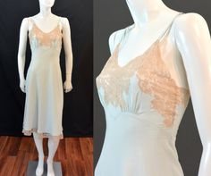 Vintage 1930s 1940s Heavenly Silk Lingerie by Fischer MINT GREEN Silk CHARMEUSE & Ecru Lace Full Slip Gown Nightgown Chemise by MemphisVintage on Etsy