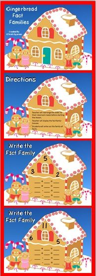 Gingerbread Fact Families (Power Point Lesson)  A Fun way to practice Fact Families.  Grades 1-3.  $