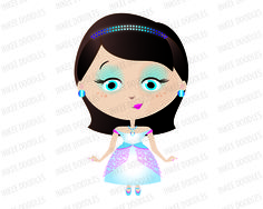 Princess Girl with Dark Black Hair wearing a Tiara and in Teal Turquoise Blue Pink Dress Clip Art - also for Commercial Use 30014, $6.00 #CommercialUse #princess #clipart