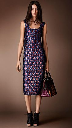 Metallic Geometric Cloqué Dress | Burberry. Brilliant Navy. Original Price $1495.00. Sale Price: $750.00