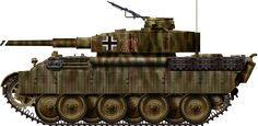 Panzer V Panther Ausf.D-1 mit PzKpfw IV H Türm, Schwere Heeres Panzerjäger Abteilung 653, Russia, early 1944. It was one of the many field conversions using surplus Panzer IV Ausf.H turrets and serving as command tanks.