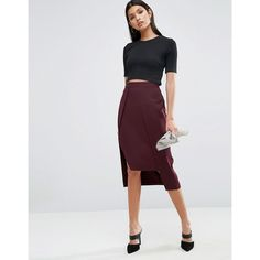 ASOS Asymmetric Pencil Skirt (180 BRL) ❤ liked on Polyvore featuring skirts, red, red skirt, zipper pencil skirt, high waisted pencil skirt, red knee length pencil skirt and high waisted knee length skirt