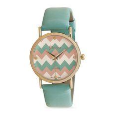 Mint Green Chevron Print Fashion Watch