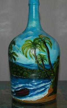 Cobalt blue bottles available. Painted Glass Bottles, Glass Bottle Crafts, Wine Bottle Art, Lighted Wine Bottles, Painted Jars, Painted Wine Glasses, Decorated Bottles, Diy Bottle, Bottle Vase