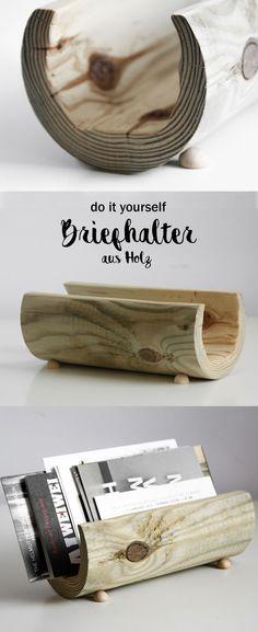 DIY Briefhalter aus Holz | Holzpfahl | Handwerk | Schreibtisch Organisation | Natürlich | wood desk organizer | letter holder | do it yourself Ideen ideas| Briefständer | Schnitzen | Geschenke | kreativ | Basteln | crafting |