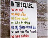 Reglas de clase Shabby Chic tipografía signo-en esta clase el aula reglas-profesor principal colores