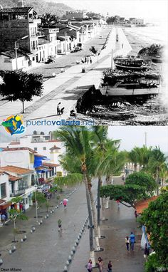 Malecon from Hotel Rosita, 1950's vs 2013 http://www.puertovallarta.net/gallery/index.php #vallarta #puertovallarta #mexico #jalisco #pastpresent #malecon