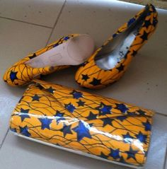 African ankara handmade shoes and purse.. by EJAfricanProducts