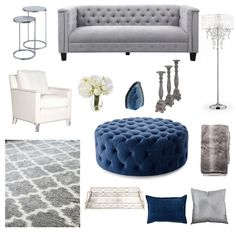 Navy blue, white, silver and gray decor inspiration board for living room Navy Blue And Grey Living Room, Blue Living Room Decor, My Living Room, Living Room Interior, Glamour Living Room, Moroccan Decor Living Room, My New Room, Gray Decor, Life Hacks