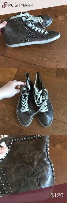 Frye leather shoes Super cute frye leather studded high top shoes. Perfect condition. Size 9, runs pretty true to size but could easily fit a 8.5 by tightening up strings Frye Shoes Sneakers
