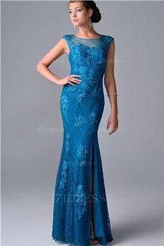 Trumpet/Mermaid Jewel Floor-length Lace Evening Dress