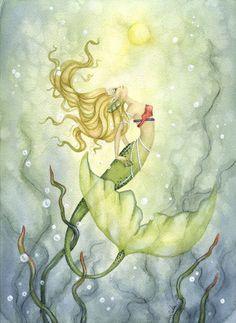 Mermaid Art Print - 5x7 - Emerging from the Deep - Whimsical fantasy ocean girl…